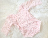 Newborn Pink Lace Romper, Baby Girl , Jumper, Romper, Vintage Lace, Photography Prop, Ready to Ship