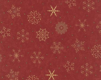Fabric by the Yard - Delightful December by Sandy Gervais for Moda - Snowflake Red