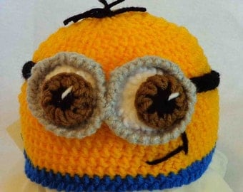 Minion Hat - hand knit Hat - Baby small to medium size - Ready to Ship!!