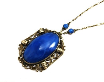 Art Deco Necklace Cobalt Blue Lapis Glass Necklace Silver Paper Clip Chain 1930s Art Deco Jewelry