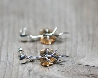 Golden Heart Earrings, Small Heart Earrings, Earrings For Girl, Gift For Daughter, Heart Earrings, Crystal Earrings, Swarovski Jewelry