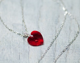 Red Heart Necklace, Crystal Heart Necklace, Swarovski Jewelry, Valentine Jewelry, Valentine Gift, Long Chain Heart Necklace, Gift For Wife