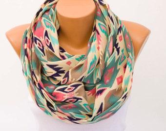 SALE Aztec Infinity scarf,Loop scarf, scarf