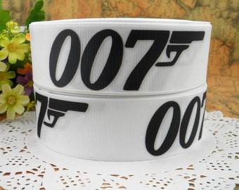 "007 1.5"" printed grosgrain ribbon for Hairbow"