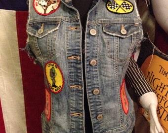 Diy Kolbi Jean vintage patch slashed destroyed rock n roll biker vest S punk