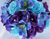 "17 Piece Package Wedding Bridal Bouquet Silk Flowers Bouquets Maid Bridesmaid PURPLE TURQUOISE MALIBU White Orchid ""Lily of Angeles TUPU07"