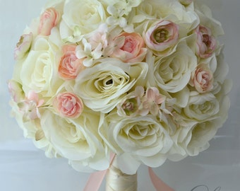 "17 Piece Package Wedding Bridal Bouquet Silk Flower Decoration Centerpieces Bouquets Ranunculus BLUSH PEACH IVORY ""Lily of Angeles"" IVPI06"