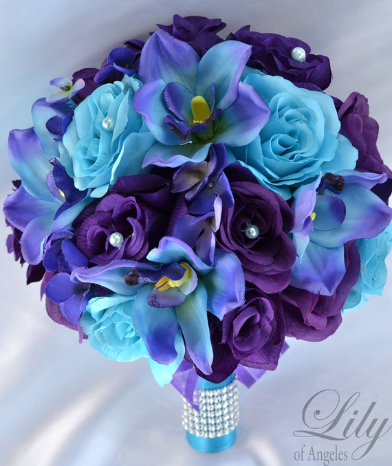 Turquoise And Purple Wedding: 17 Piece Package Wedding Bridal Bouquet Silk By LilyOfAngeles