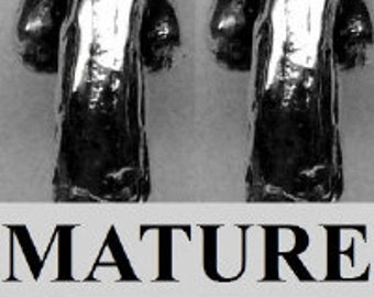 """Mature 1"""" Penis Earrings  Solid Sterling Silver Free Domestic Shipping"""