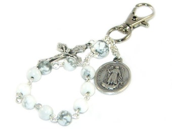 Clip-On Travel Rosary or Key Chain, Saint Raphael Medal, White Howlite Beads