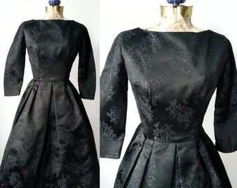 1950s Dress, Vintage Dress, Black Vintage Dress, 50s Black Dress, Retro 50s Dress, Black Satin Dress, Satin Damask Dress, Formal Black Dress