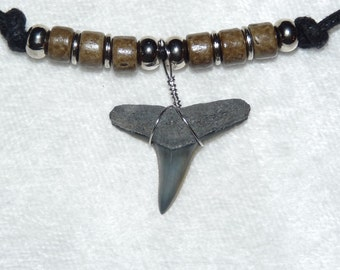 Fossil lemon shark tooth necklace with khaki colored beads and adjustable cord 02