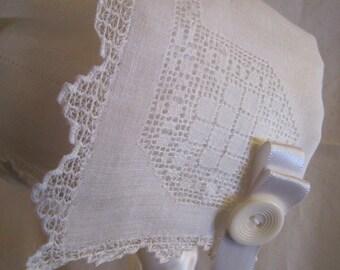 White Handkerchief Bonnet with Drawn Threadwork