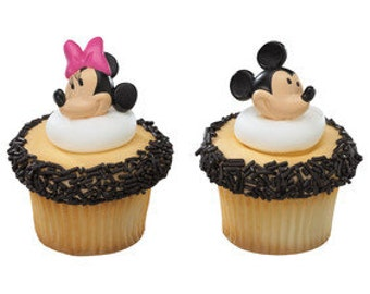 Mickey & Minnie Mouse Ring Cupcake Topper, 12 Cupcake Topper Ring, Cupcake Pick, Disney Party, Baking, Cupcake Toppers