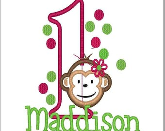 Mod Monkey Birthday with Glitter Number-Girly Monkey Hot Pink and Lime Green-ANY age or number--Embroidered Girls Birthday shirt or bodysuit