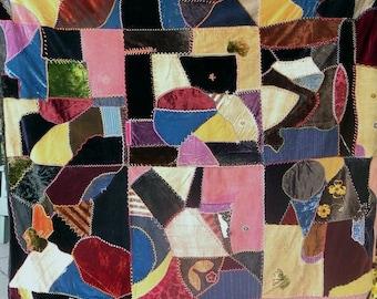 "Antique Crazy Quilt, Silks, Satins, Velvets, Brocades, Embroidery, 73""x56"""