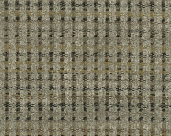 Woven Soft Striped Chenille Upholstery Fabric - Economical, Durable, Easy Clean - Color: Gable Stucco - Per yard