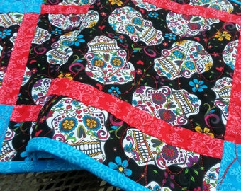 Day of the Dead Quilted Table Runner, Halloween Quilted Table Runner, Reversible Quilted Table Topper, Sugar Skulls Table Runner