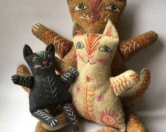 Embroidered Felt Cat Family to make