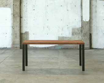 modern loft table - kitchen, dining - reclaimed old growth wood and industrial steel - modern elemental parsons style table