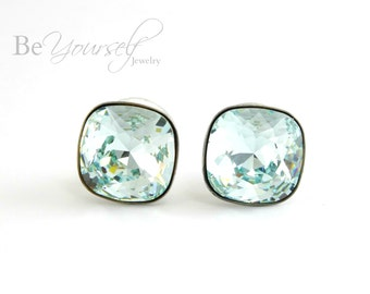 Soft Green Earring Pastel Sea Green Studs Swarovski Crystal Light Azore Cushion Cut Wedding Earring Stainless Surgical Steel Bridesmaid Gift