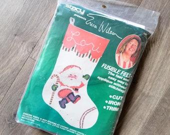 1980s Felt Stocking Kit Santa Claus Sequin Beads Stacy Present Erica Wilson Vintage Christmas DIY