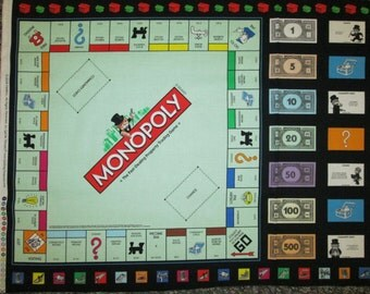 Monopoly Board Game Money Cards Cotton Fabric Panel
