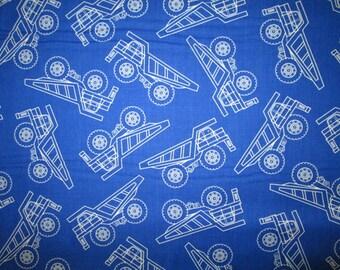 Dump Trucks Construction Blue Cotton Fabric Fat Quarter or Custom Listing
