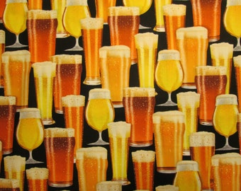 Beer Glasses Realistic Craft Drinks Cotton Fabric Fat Quarter or Custom Listing