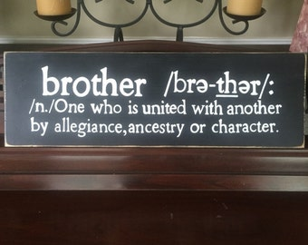 BROTHER Sign Plaque Defined Dictionary Definition Fort Playhouse BOYS Room Decor Bond Hand Painted Wooden You Pick Color