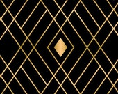 Black and Gold Fabric - Diamond  Fabric - Black Fabric - Gold Fabric - Metallic Fabric - By the Yard - Quilting -  Sewing - Textiles