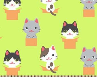 Cat Fabric - Harajuku - Green Fabric - Flannel Fabric - Cotton Fabric - Neon Fabric - Novelty Fabric - Nursery Fabric - Kids Fabric