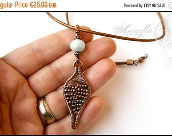 ON SALE Wire wrapped , leaf , pendant with aquamarine