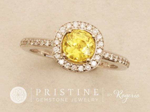 Canary Yellow Sapphire Engagement Ring 14k White Gold Diamond