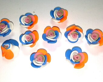 New 10 Polymer Fimo Clay Flower Rose Rainbow Orange Blue White 20mm Multicolors Beads