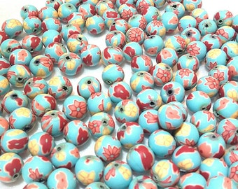 20 Fimo Polymer Clay Round Beads turquoise Skyblue red blue flower beads 12mm