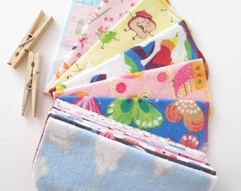 Reusable Cloth Wipes Pack of 16--Girls Mix--2 Ply Flannel--Regular--Ready To Ship