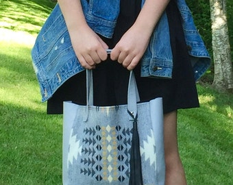 Small Tote Bag // Rustic Pendleton Wool Grey Leather with Tassel // Rosebud Originals