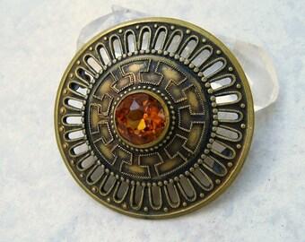 Vintage Etruscan Brooch Brass Cutwork Amber Rhinestone Domed