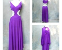1960s RARE  mod authentic Emilio Pucci maxi dress- 60s purple silk jersery floor length midriff cutout dress with cape- medium