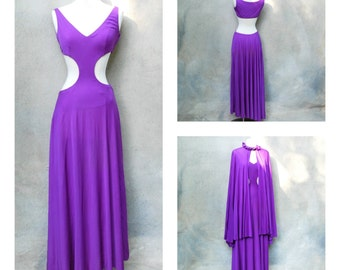 1960s RARE  mod authentic Emilio Pucci maxi dress- 60s purple silk jersery floor length midriff cutout dress with cape- medium