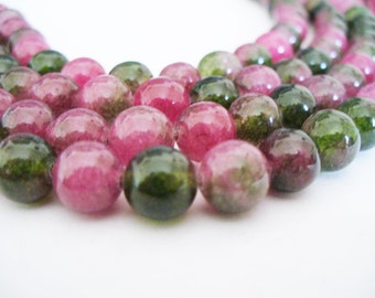 Jade Beads Gemstone Pinks and Green Round 8MM