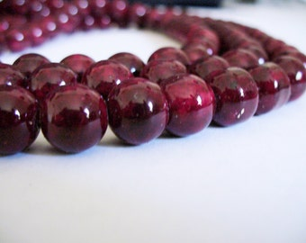 Glass Beads Red and Black Round 10MM