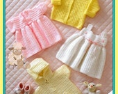 Instant Download - PDF Crochet Pattern for a Baby/Girls Matinee Jacket, Cardigan & Dresses Set 14-24""