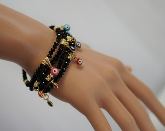 Evil Eye, Dangle Evil Eye Bracelet, Black crystal beads Evil Eye, Stretch Evil Eye Bracelet, Gift for her, Good luck charm