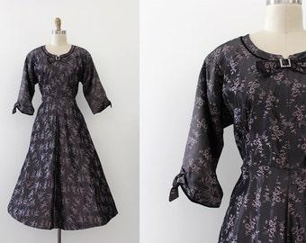 vintage 1950s dress // 50s purple evening dress