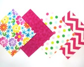 """48 Flannel Quilt Square Kit with 6""""x6"""" Flannel Squares in Bright Flowers, Chevron and Dot Prints"""