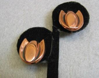 Copper Tulip Screwback Earrings, 1960, Vintage