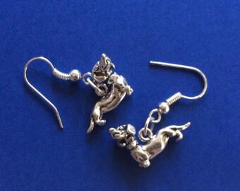 Sweet Cast Sterling Silver Dachshund Dog Earrings