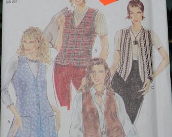Pattern Misses Vest Four Styles Long Short Button Front Fringed Simplicity NEW LOOK Uncut
